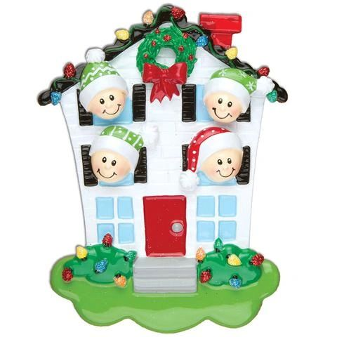 HOUSE FAMILY OF 4 PERSONALIZED ORNAMENT