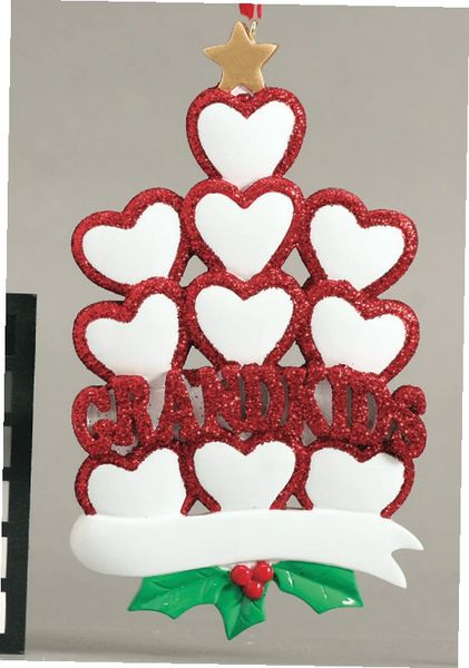 GRANDKIDS HEARTS 10 PERSONALIZED ORNAMENT