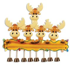 MOOSE FAMILY OF 5 PERSONALIZED ORNAMENT