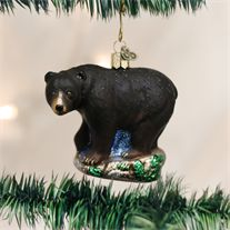 Old World Black Bear Glass Ornament