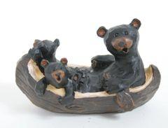 Black Bears in a canoe