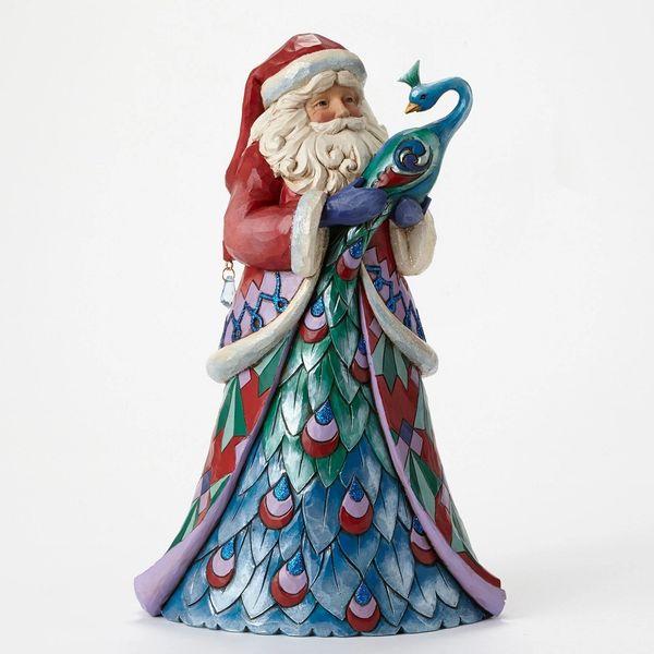 """Jim Shore """" Santa Style"""" Santa with Peacock"""