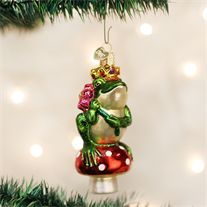 Old World Frog Prince Glass Ornament