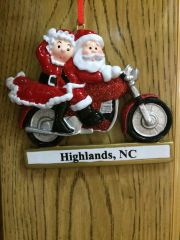 MOTORCYCLE MR. & MRS. CLAUS HIGHLANDS ORNAMENT