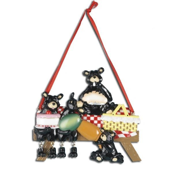 BLACK BEAR FAMILY OF PERSONALIZED ORNAMENT