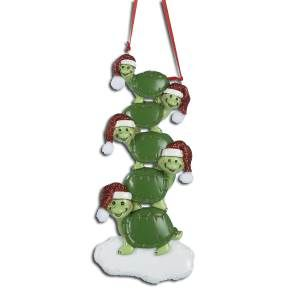 TURTLES FAMILY OF 5 PERSONALIZED ORNAMENT