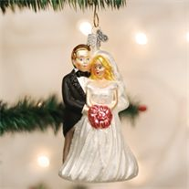Old World Bridal Couple Glass Ornament