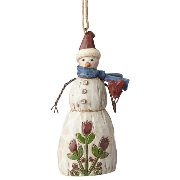 Jim Shore Folklore Snowman With Heart Ornament