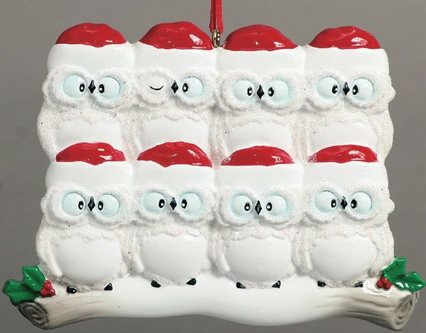 WISE OWLS FAMILY OF 8 PERSONALIZED ORNAMENT