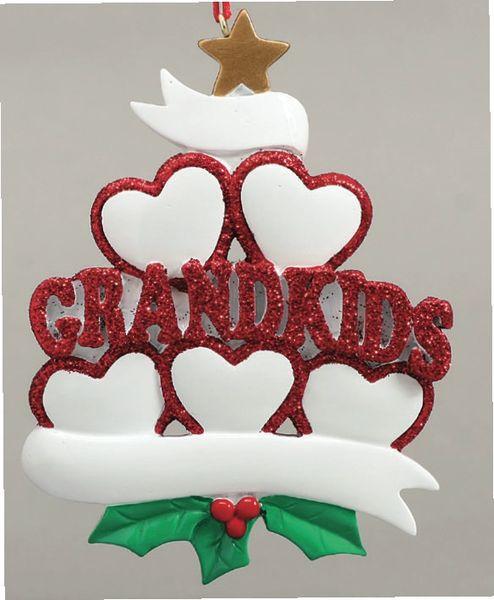 GRANDKIDS HEARTS 5 PERSONALIZED ORNAMENT