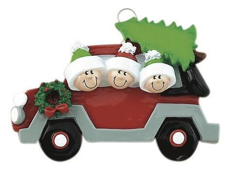 CHRISTMAS TREE CARAVAN FAMILY OF 3 PERSONALIZED ORNAMENT