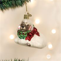 Old World Little Lamb Glass Ornament
