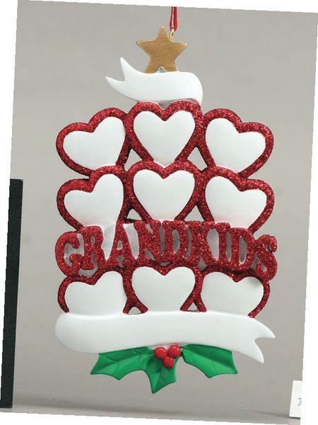 GRANDKIDS HEARTS 9 PERSONALIZED ORNAMENT