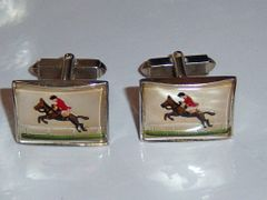 Vintage Cuff Links. Intaglio Horse Jumping Equestrian Cuff Links.