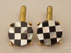 Vintage Checkerboard Cufflinks. Signed Checkerboard Cuff Links.