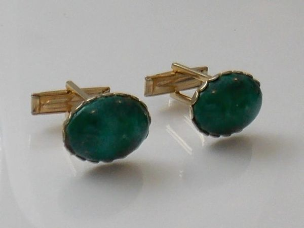 Mottled Green Glass Vintage Cufflinks