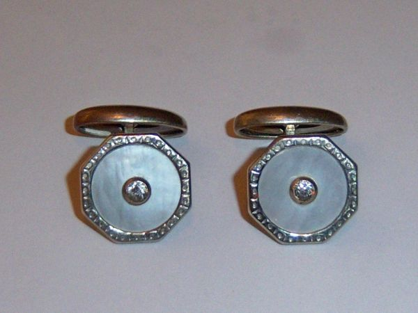 Octagon Art Deco Cufflinks. MOP Crystal Cufflinks.