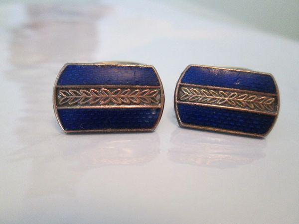 Russian Blue Enamel Vintage Cufflinks