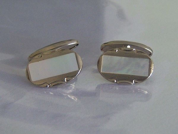 French Art Deco Cufflinks. Mother Of Pearl Art Deco Cufflinks.