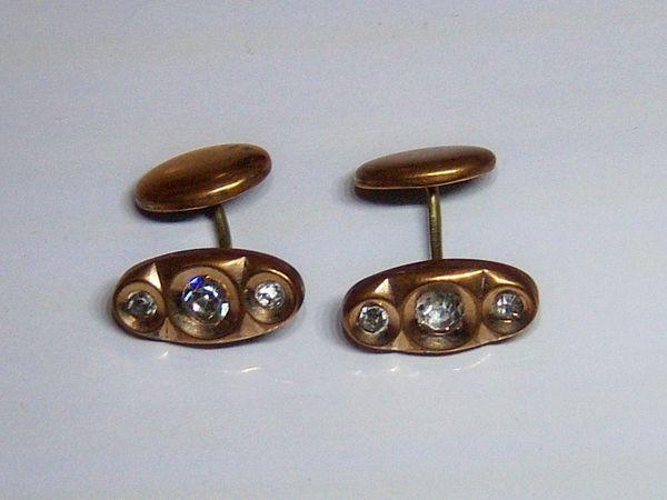 Art Deco Vintage Cufflinks With Crystal Stones