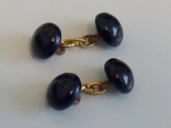 Small. Dark Blue Glass Chain Link Cufflinks