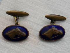 Vintage Russian Horse Cufflinks. Art Deco Enamel Horse Cufflinks.