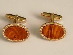 Brown Oval Vintage Cufflinks.