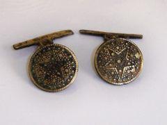Antique Spanish Buttons. Convert Cufflinks. Star Cufflinks.