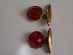 Faceted Red Lucite Cufflinks. Red Vintage Cufflinks.