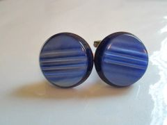 Russian Blue Vintage Cufflinks. Striped Large Cufflinks.