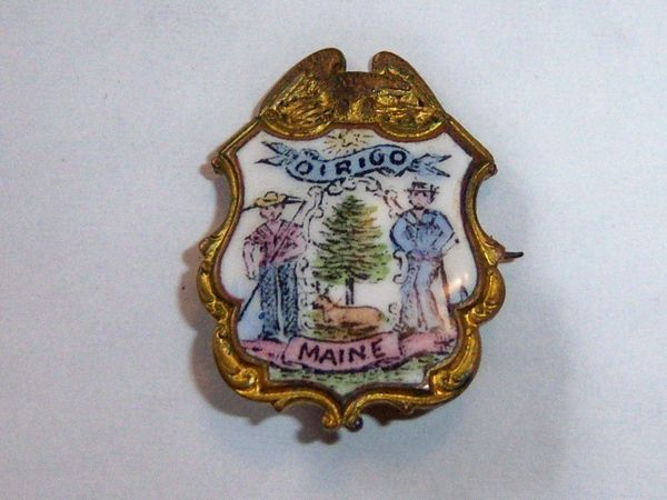 Small Antique Enamel Maine Crest Pin. Dirigo Maine Crest.