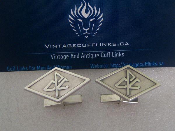 Vintage CPC Logo Monogram Silver Cufflinks. CPC Jewelry.