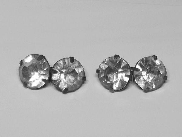 Art Deco Clear Crystal Cufflinks. Crystal Russian Cufflinks.