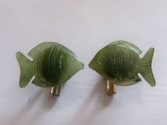 Tropical Fish Vintage Cufflinks. Green Fish Cufflinks.