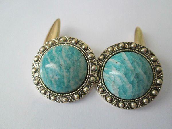 Vintage Russian Cufflinks. Blue/Green Cabochon.