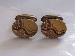 Vintage Art Deco Cufflinks. Mythological Cufflinks. Dragon Cufflinks.