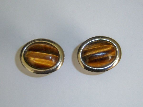 Vintage Cufflinks. Oval Tiger Eye Cufflinks.