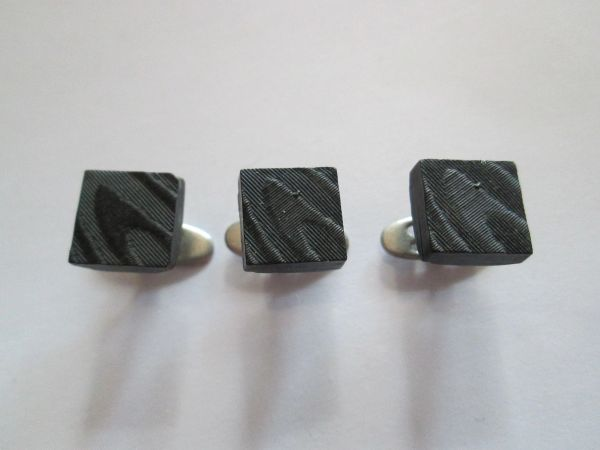Small Art Deco Black Shirt Studs. French.
