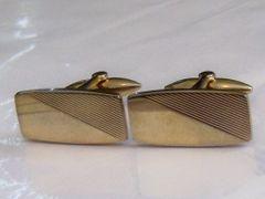 Vintage Cufflinks. Gold Tone Half Striped Cufflinks.