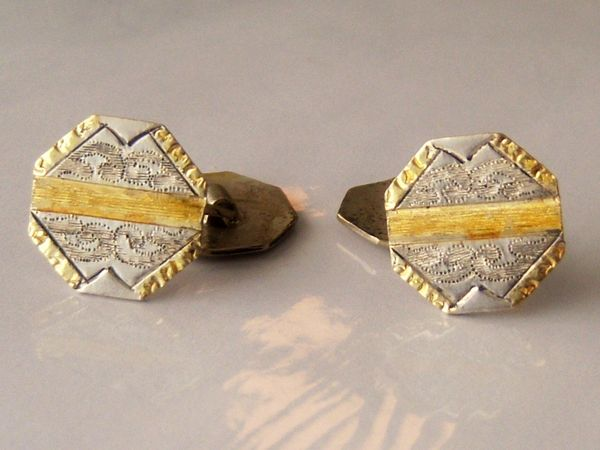 Vintage Cufflinks. Gold Plated Octogon Cufflinks.