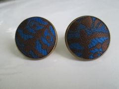 Art Deco Russian Cloth Cuff Links. Blue Russian Cufflinks.