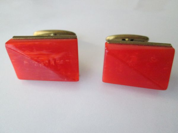 Russian Art Deco Cufflinks. Textured Watermelon Color.