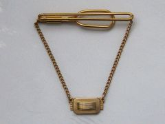 Signed Vintage Tie Clip With Hanging Pendant.