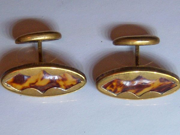 Art Deco Cufflinks. Faux Tortoise Shell.