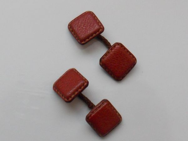 Vintage Red Leather Cufflinks