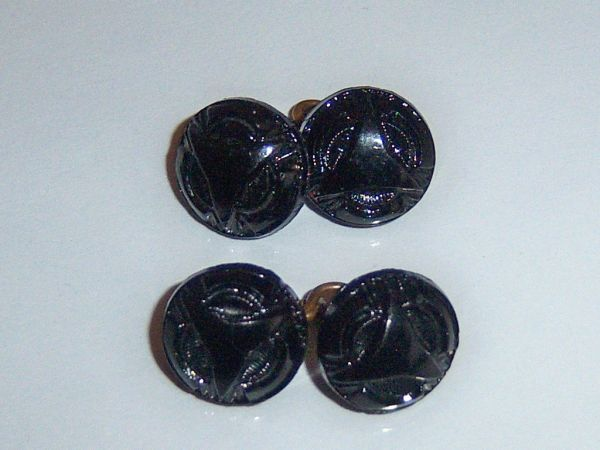 Very Small French Jet Antique Cufflinks