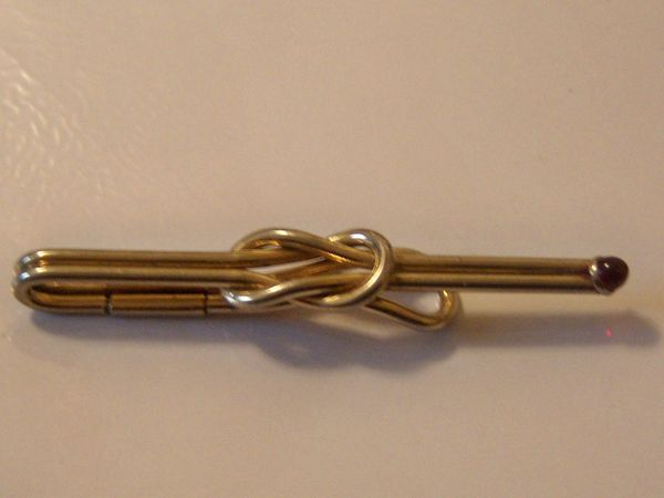 Classic Vintage Tie Clip Accessory. Knot Tie Clip With A Red Stone.