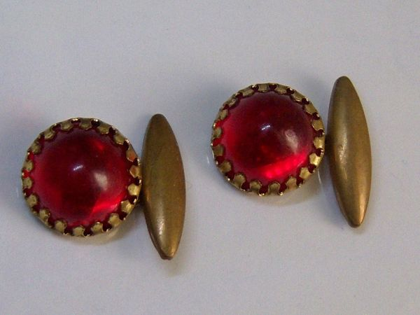 Vintage Cufflinks. Red Lucite Cufflinks With Bezel Setting.