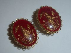 Red Asian Inspired Vintage Cufflinks. Intaglio.