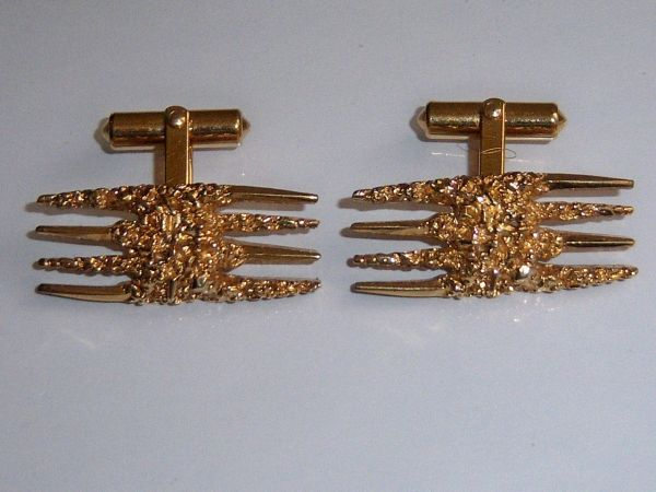 Vintage Cufflinks. Gold Nugget Look With Spikes.